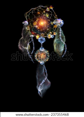 Dreamcatcher series. Backdrop composed of dream catcher symbol made of abstract elements and suitable for use in the projects on art, craft, design and Spirit World - stock photo