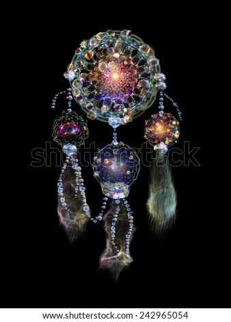 Dreamcatcher series. Composition of dream catcher symbol made of abstract elements with metaphorical relationship to art, craft, design and Spirit World - stock photo