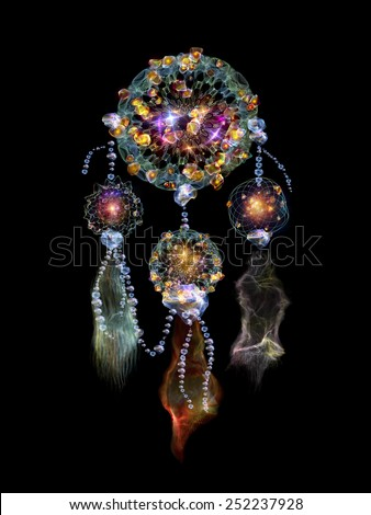 Dreamcatcher series. Creative arrangement of dream catcher symbol made of abstract elements as a concept metaphor on subject of art, craft, design and Spirit World - stock photo