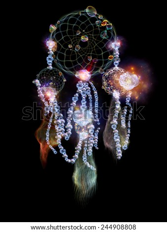 Dreamcatcher series. Design composed of dream catcher symbol made of abstract elements as a metaphor on the subject of art, craft, design and Spirit World - stock photo