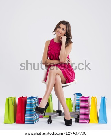 Dreaming beautiful shopper