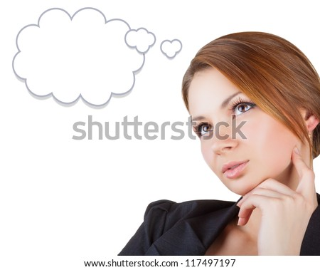 Dreaming business woman looking up isolated on white background. Speech bubble at the top of the photo for your text