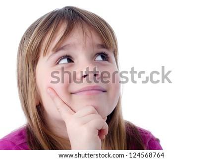 Dreaming child girl portrait - stock photo