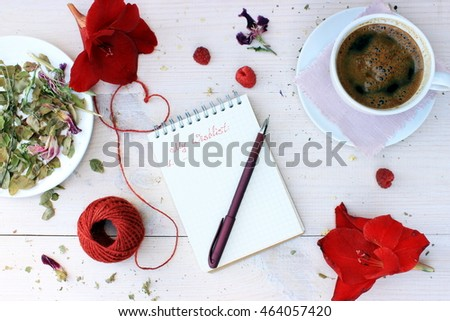 Dreaming concept: notebook with handwritten text about wishes and planing on white  wooden background with some natural red decor elements and plants. Motivation theme in a cute romantic setting