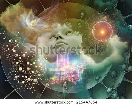 Dreaming Intellect series. Abstract composition of human face and technological elements suitable as element in projects related to mind, reason, intelligence and imagination - stock photo