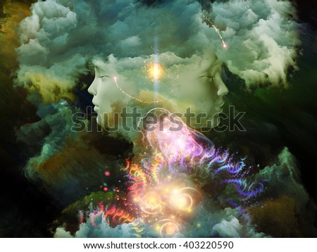 Dreaming Intellect series. Backdrop of human face and technological elements on the subject of mind, reason, intelligence and imagination - stock photo