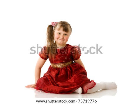 Dreaming little girl posing isolated on white