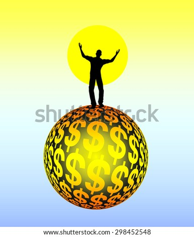 Dreaming of Riches. Concept sign of a person disconnected from reality daydreaming of money - stock photo