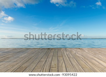 Dreaming on a empty wooden pier