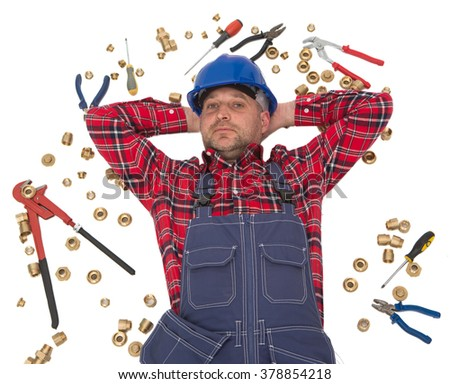 dreaming plumber,  tired plumber  - stock photo