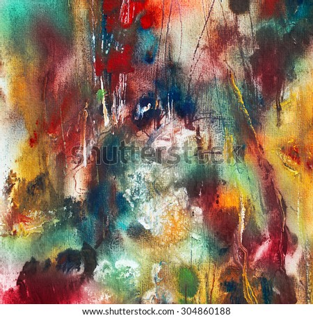 Dreamlike landscape, abstract painting on handmade paper, art background