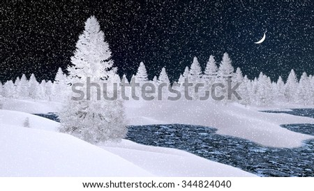 Dreamlike winter scenery with snowy fir trees and frozen river at snowfall night with a crescent in the sky. Decorative 3D illustration. - stock photo