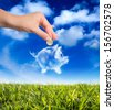 dreams in the piggy bank - stock photo