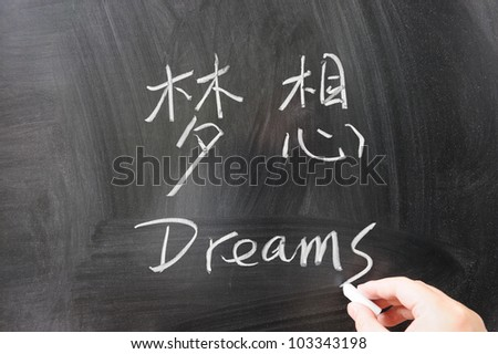 Dreams word in Chinese and English written on the chalkboard