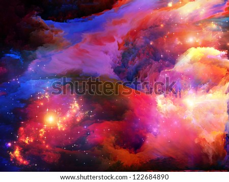 Dreamscape Series. Arrangement of colorful fractal paint and lights on the subject of art, abstraction and creativity