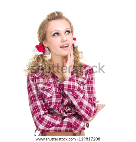 dreamy beautiful girl, isolated on white background - stock photo