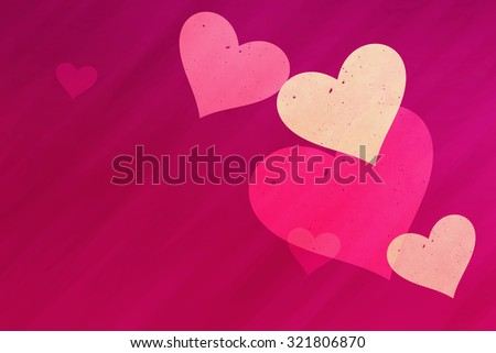 dreamy light hearts on red rays backgrounds. Love symbol - stock photo