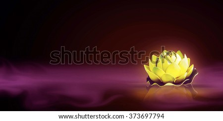 Dreamy magic lotus flower in the foggy water - stock photo