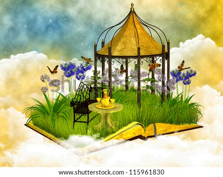 dreamy reading place in the blue sky - stock photo