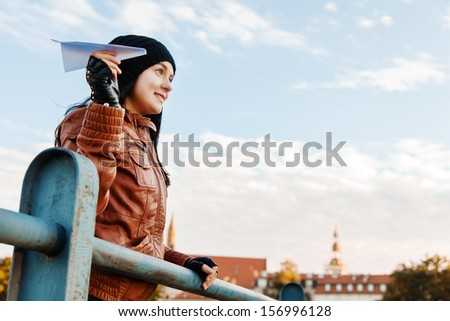 Dreamy stylish lady in a european city - stock photo