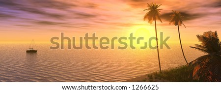 dreamy sunset - stock photo