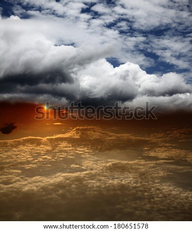 Dreamy surreal apocalyptic cloudscape.  - stock photo
