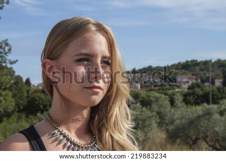 dreamy young girl, Summer by the sea - stock photo
