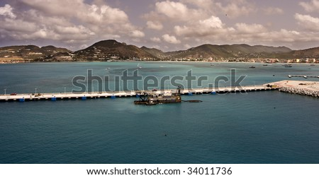 Dredge boat in port - stock photo
