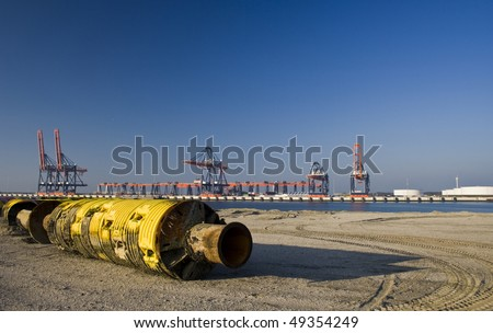 Dredging floating pipe - stock photo