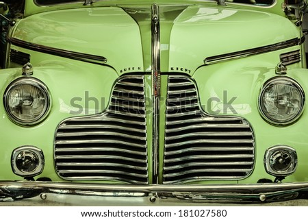DREMPT, THE NETHERLANDS - MARCH 7, 2014: Retro styled image of the front of a 1940 Buick Super eight - stock photo
