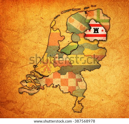 drenthe flag on map with borders of provinces in netherlands - stock photo