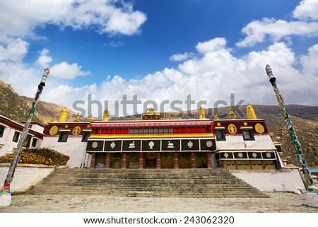 Drepung Tsogchen Lhakhang, the main assembly hall of Drepung monastery, Lhasa, Tibet - stock photo