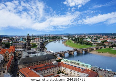 Dresden aerial view to Elbe river from Frauenkirche - stock photo
