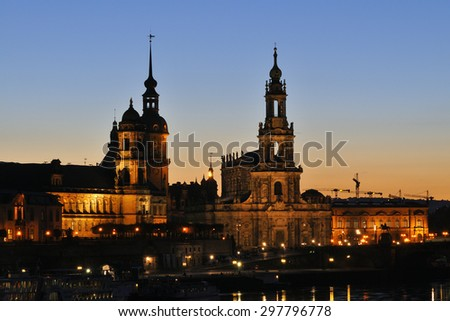Dresden at night, with terrace banks and Bruehlsche  Terrace - stock photo
