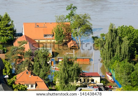 Dresden Blaues Wunder areal during inundation 2013, Elbe 840cm high - stock photo