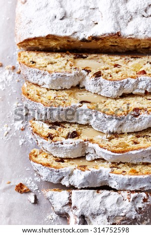 Dresden Christmas Stollen, sliced (Germany)  - stock photo