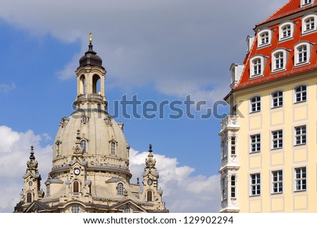 Dresden Frauenkirche. Built in the 18th, the church was destroyed in the firebombing of Dresden during World War II. Dresden Germany - stock photo