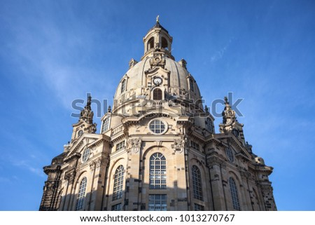 Dresden Frauenkirche church in day over sky background