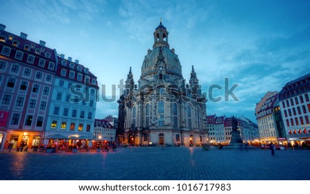 Dresden Frauenkirche church in dusk. Saxony, Germany, Europe
