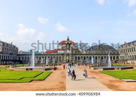 DRESDEN, GERMANY- APRIL 12, 2016; Many tourists visiting Zwinger Palace. Zwinger palace is one of the most magnificent Baroque buildings in Germany.