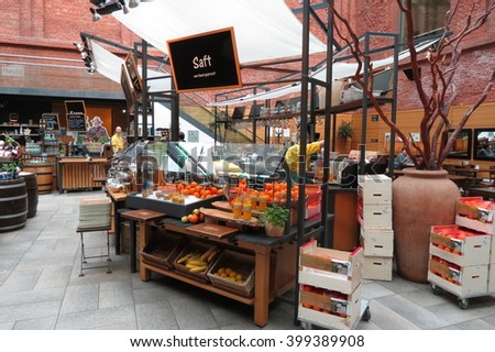 DRESDEN, GERMANY - CIRCA MARCH 2016: organic juice store and smoothie at the main railway station (Hauptbahnhof) - stock photo