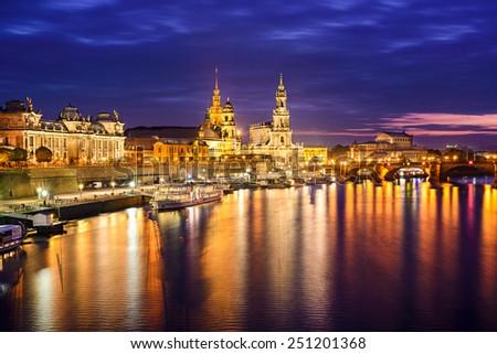 Dresden, Germany city skyline. - stock photo