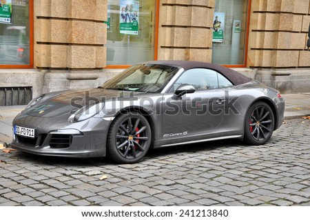 DRESDEN, GERMANY, DECEMBER 12, 2014: Porsche 911 Carrera 4S - stock photo