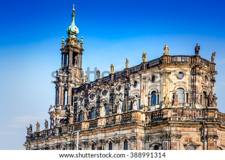 Dresden, Germany. Dresda Castle (Green Vault) in the historic center of the Saxony city. Contains the largest collection of treasures in Europe. - stock photo