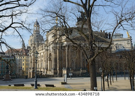 DRESDEN, GERMANY - FEBRUARY 22: People are walking along Bruhl Terrace pass by the Academy of Fine Arts on February 22, 2015 in Dresden, Saxony, Germany.