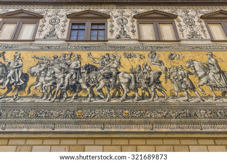 "Dresden. Germany. Fragment of a large painting ""Procession of Princes"". It was originally painted between 1871 and 1876 to celebrate the 800th anniversary of the Wettin Dynasty."