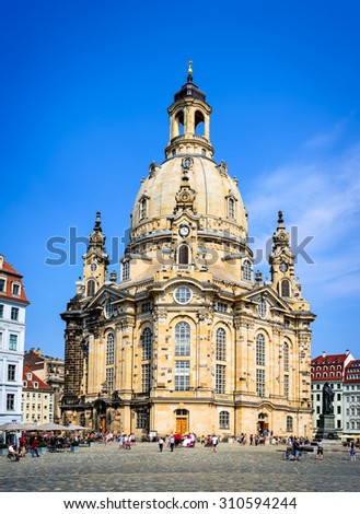 Dresden, Germany. Frauenkirche, Cathedral of Our Lady in Dresden in central Neumarkt landmark of Saxony - stock photo