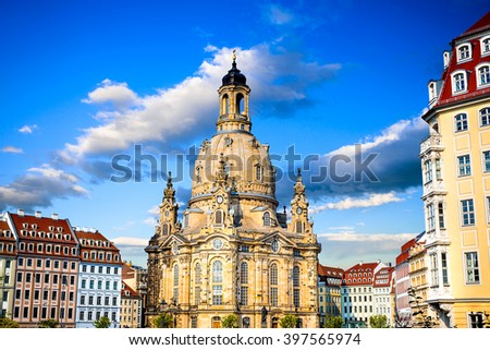 Dresden, Germany. Frauenkirche (Church of Our lady). Medieval city, historical and cultural center of Free State of Saxony in Europe. - stock photo
