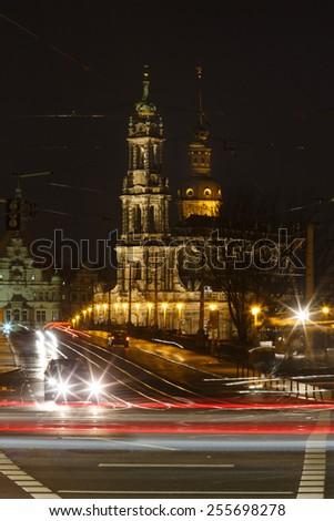 Dresden, Germany, January 06 2015: View of Hofkirche from the other side of the bridge at night time