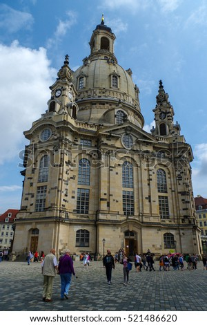 DRESDEN, GERMANY - JULY 13, 2015: the Frauenkirche in the ancient city, historical and cultural center of Free State of Saxony in Europe.